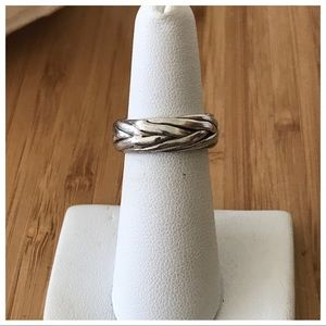 Vintage Sterling Mexico Braided Band Ring, Size 6